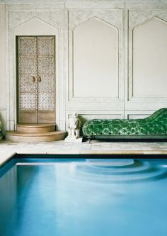 Ann Getty residence in door pool