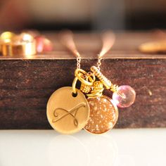 Hey, I found this really awesome Etsy listing at https://www.etsy.com/listing/174586572/gold-and-pink-druzy-initial-necklaces
