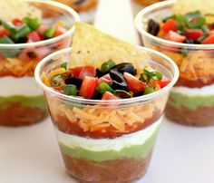 Super Bowl Party Food Ideas - Individual Seven-Layer Dips - Click Pic for 40 Easy Super Bowl Snacks