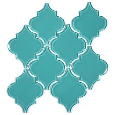 Glass Arabesque Tile (Teal). $18.77 Per Sheet from Wholesalers USA  Would look great in the shower as an accent wall.