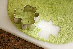 so cute, green toritilla cut with shamrock cookie cutter
