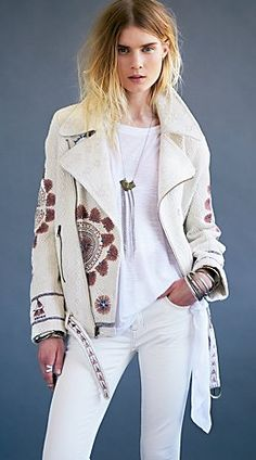 New Romantics Embroidered Moto Jacket  by Free People