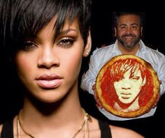 Domenico Crolla with his Rihanna pizza. Click on this image to see more pizza portraits. song, rihanna 2008, rhanna pizza, rihanna pizza, pizza portrait, creativ food, food art