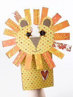 Titella de dit paper bag puppets, paper bags, lion puppet, craft projects, scrapbook paper, papers, friend lion, lions, kid crafts