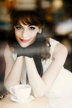 cafe girl, window, glove, beauti, portrait
