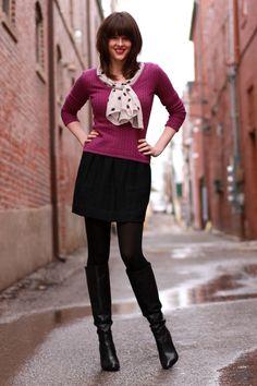 Cute: black boots, black panty hose/leggings, black skirt, purple cardigan and polka scarf/accessory