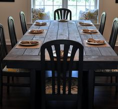 DIY Farmhouse table - would be a great idea for outdoor picnic table.