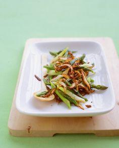 sauteed scallions, mushrooms, and asparagus