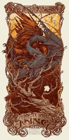 Beautiful and intricate poster for Return of the King.  From a Mystery Movie event.  Love this, and adore his style.    Mondo: The Archive | Aaron Horkey - The Lord of the Rings: The Return of the King, 2012 poster