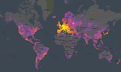 Visual heatmap of where photos are taken across the globe.  #neat  (click through for full interaction)