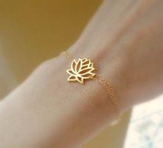 Lotus bracelet, gold bracelet, lotus jewelry, yoga jewelry, buddhist, delicate, thin, skinny bracelet // Etsy