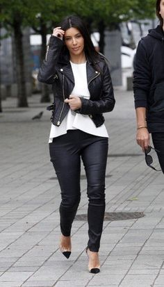 Kim Kardashian, that jacket.... leather love!!