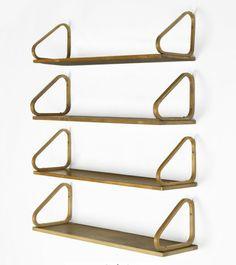 Alvar Aalto; Birch and Birch Plywood Wall-Mounted Shelves for Artek, 1932.
