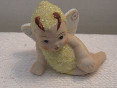 """Vintage Bisque Coralene Yellow Butterfly Fairy Pixie Snow Baby """"Japan""""P 16977 