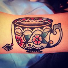 Tea cup tattoo by Nick Oaks As a tea addict, I feel like I need to get this. Or a variation of this.