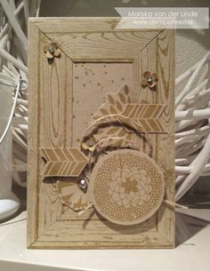 handmade card ... monochromatic kraft ...  by Mariska van der Linde ... framed look with wood grain stamping ... collage/montage ... luv it!
