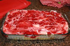 """Aunt Mary's """"cherry junk"""" cake--a make-ahead, refrigerator dessert. Just instant vanilla pudding, cool whip, sour cream, cherry pie filling (or any other flavor), and bought angel food cake.  Easy and yummy!"""