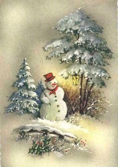 christma card, christmas cards, vintag christma, vintage christmas, christmas holidays, vintag card, vintag snowman, christmas scenes, vintage cards