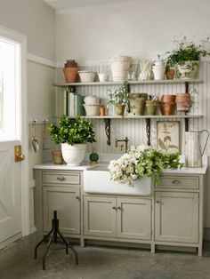 if i only i had the space/love the farm sink cabinet colors and beadboard