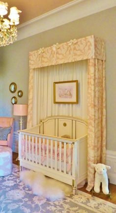 A detail of the stunning canopy surrounding the precious white crib.  The artwork hung inside the canopy is the designer's rendering of this...