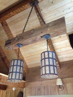 reclaim timber, interior inspir, fine hous, side job, timber chandeli, rustic accent