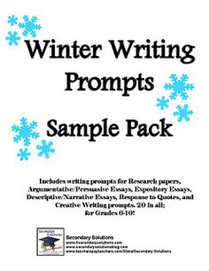 Winter Writing Prompts for Grades 6 and up!