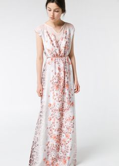 Printed long dress - Sleeveless satin long dress with snake and floral print. Notched round neck with scalloped trim and contrast top. Elastic waist, detachable chain belt and inner lining.