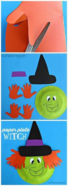 "Paper Plate Witch Craft <a class=""pintag"" href=""/explore/Halloween/"" title=""#Halloween explore Pinterest"">#Halloween</a> craft for kids to make using their handprints! 