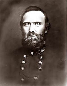"""General Thomas Jonathan """"Stonewall"""" Jackson.    Jackson died from wounds he received at the Battle of Chancellorsville. Jackson and a small group of men rode behind enemy lines to survey the situation. Upon returning to his front line, his own pickets mistook his group for the enemy, and fired upon them."""