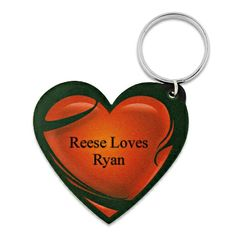 Red Heart Leather Keychain