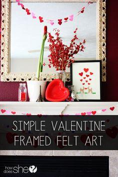 Valentine Felt Art  #howdoesshe #valentinesdecor #diyholidaydecor #feltvalentinesdecor #valentinecrafts #felt howdoesshe.com