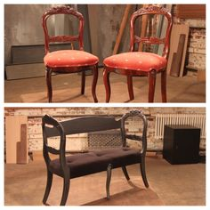 Don't be afraid to completely reinvent a flea market find, these chairs became a wonderful bench with a little DIY elbow grease #FleaMarketFlip