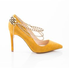 Draping Chains drape chain, fashion shoes, girl shoe, color, chains, black shoes, black heels, yellow, girls shoes