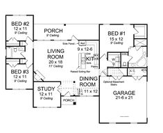 2- Open Concept Floor Plans   Open Concept Floor Plan (HWBDO75428)   Traditional House Plan from ...