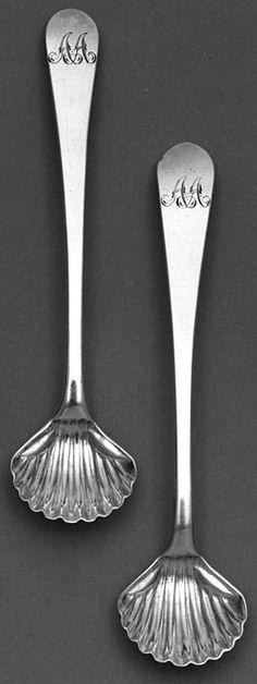 Salt spoons (two from an original set of eight), Paul Revere salt spoon, sugar spoon