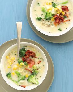 Broccoli Chowder with Corn and Bacon ♥ Martha Stewart