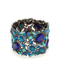 Multi-Shape Blue Stretch Bracelet by Leslie Danzis on Gilt.com