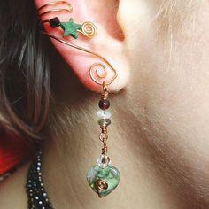 Rainforest Jasper Goddess Ear Cuff 2 in 1