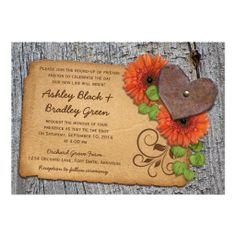 Rustic country and western or barn orange gerber daisy and rusty heart on wood (bark) and leather background wedding invitation design. Perfect for a country, western, farm, barn, or outdoors wedding. A great choice if you are using orange gerbera daisies as your wedding flower too.  #weddings #weddingsinvitations #daisywedding #daisyweddinginvitations #westernwedding #countrywedding #countryweddinginvitations   $2.15 per card on basic paper.