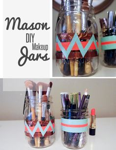 DIY Friday: Makeup Mason Jars | SequinCrush.com | #chevron #mint #neon #diy
