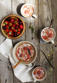 Golubka: Cardamom Amaranth Porridge with Stewed Strawberries