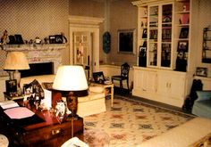 Another view of Diana's sitting room at Kensington Palace.  Within the white cabinet was a television on an extendable arm.