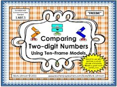1.NBT.3 Comparing Two-Digit Numbers Using Ten-Frame Models {FREE}