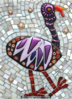 Beautiful glass tile turkey. #thanksgiving #decor