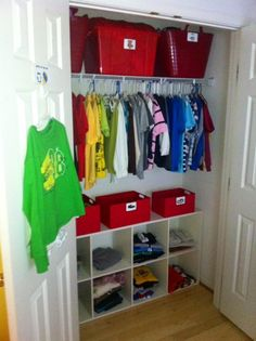 Kids closet organization; Likes: low shelving for him to access his own clothes, area to hang jackets, etc. and storage for other off season clothes up top