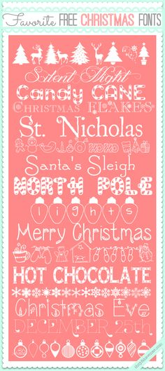 Adorable Free Christmas Fonts and links to downloads at the36thavenue.com So festive and cute!