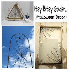 Cool Spiders and Spider Webs made out of barbed wire and wire. Gotta See!  Perfect Halloween decor