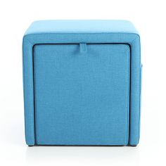 Stash Aqua Storage Ottoman in Ottomans  Cubes | Crate and Barrel