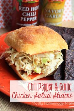 Chili Pepper & Garlic Chicken Salad Sliders - Mini ciabatta rolls with a red hot chili pepper spread and filled with a savory garlic chicken salad - these are wonderful for lunch or as an appetizer!