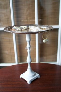 DIY Jewelry Display idea candle stick holder/pretty plate